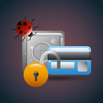 Cyber security payment safety box lock creditcard bank