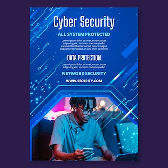 Cyber security verticale flyer-sjabloon
