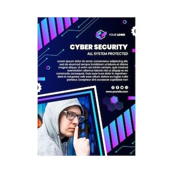 Cyber security verticale flyer-sjabloon