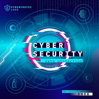 Cyber security vierkante flyer-sjabloon