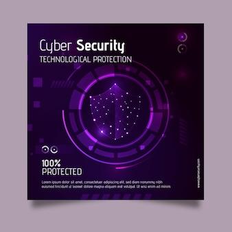 Cyber security vierkante folder sjabloon