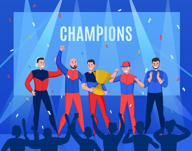 Cyber sport overwinning samenstelling ofd triomfantelijke team illustratie