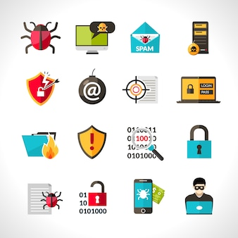 Cyber ​​virus icons set