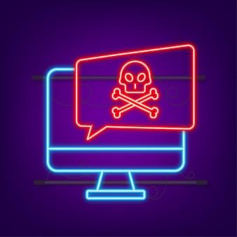 Cyberaanval data phishing met vishaak laptop internetbeveiliging neon icoon
