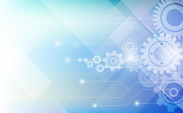 Cyberbeveiliging bescherming concept technologie met elektronische schakeling op blauwe achtergrond en pijl.