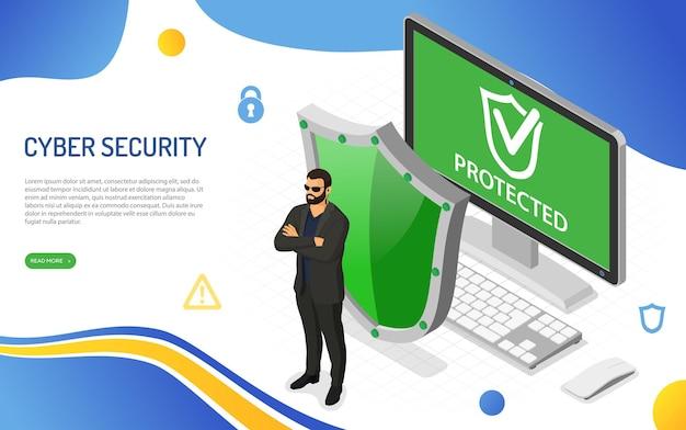 Cyberbeveiliging beschermt de computer tegen aanvallen van hackers
