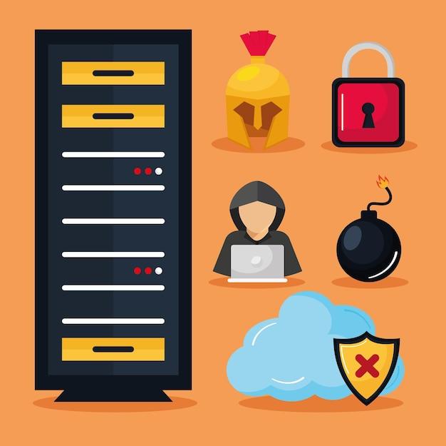Cyberbeveiliging clipart set