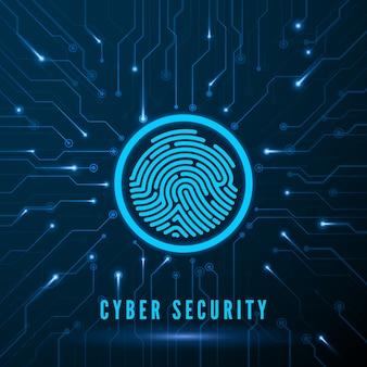 Cyberbeveiliging. identificatiesysteem voor vingerafdrukscanning. vingerafdruk op circuit. biometrische autorisatie en veiligheidsconcept.