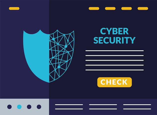 Cyberbeveiliging infographic met circuit in schildwacht illustratie ontwerp