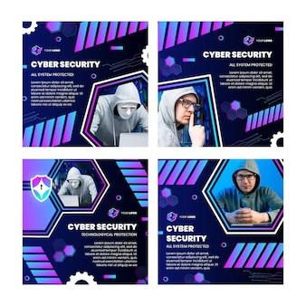 Cyberbeveiliging instagram-berichtenverzameling