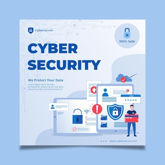 Cyberbeveiliging vierkante flyer