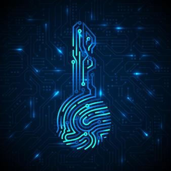 Cyberbeveiligingsconcept. vingerafdruk in sleutelvorm met circuitachtergrond. beveiliging cryptocurrency-technologie. autorisatie futuristisch systeem. vector illustratie