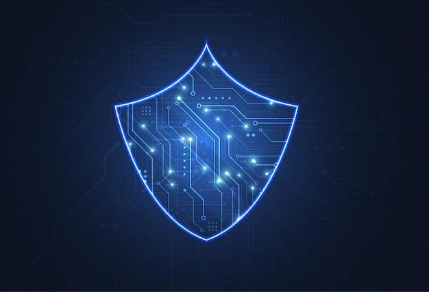 Cyberbeveiligingsschild en informatie of netwerkbescherming. online datatechnologie webservices voor zakelijk project. vectorillustratie