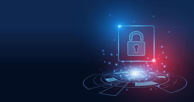 Cyberbeveiligingstechnologieconcept, schild met sleutelgatpictogram, persoonlijke gegevens,