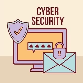 Cyberbeveiligingstekst en één scherm met een wachtwoord
