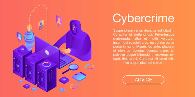 Cybercrime-conceptenbanner, isometrische stijl