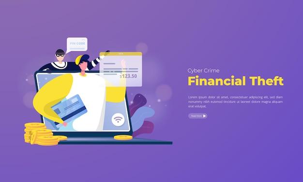 Cybercriminaliteit stalking financiële diefstal illustratie concept