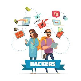 Cybercriminele hackers op het werk stelen wachtwoordinformatie en toegang tot bankrekening