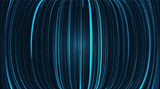 Cyberlijnen op blauwe technologieachtergrond, komisch en bewegingsconceptontwerp, vector.