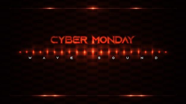 Cybermaandag achtergrondontwerp met neonlichten en baksteenachtergrond