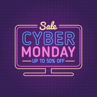 Cybermaandag binnen monitor met gloeiend effect
