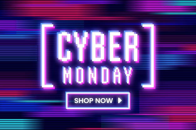 Cybermaandag glitched in verschillende kleuren en bewegingen