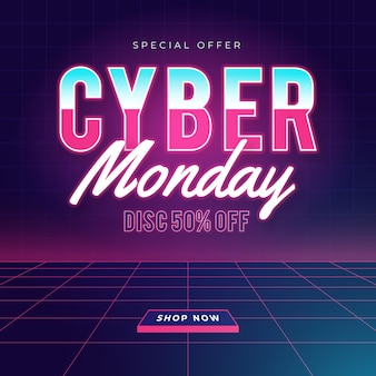 Cybermaandag in plat ontwerp