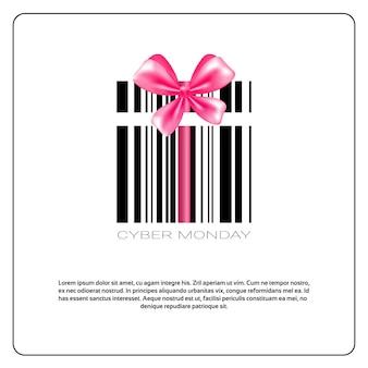 Cybermaandag met streepjescode en roze boog verkoop bannerontwerp