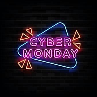 Cybermaandag neonreclames ontwerpsjabloon neonstijl
