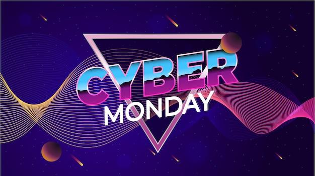 Cybermaandag, online winkelen en marketingconcept. illustratie. planeten op een neon ruimte achtergrond