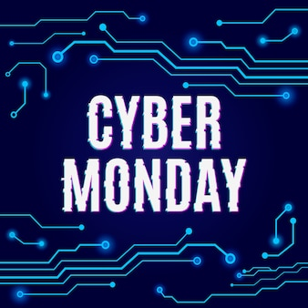 Cybermaandag op abstracte hi-tech blauwe printplaat.