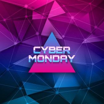 Cybermaandag retrowave abstracte achtergrond