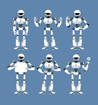 Cybernetische robot android met bionische armen en ogen in verschillende poses
