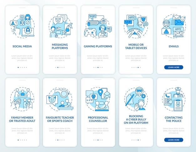 Cyberpesten bronnen onboarding mobiele app paginascherm met concepten set
