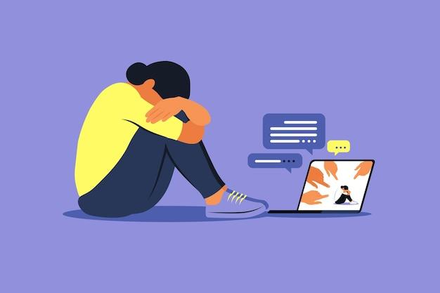 Cyberpesten concept. depressieve vrouw zittend op de vloer. mening en de druk van de samenleving. schaamte. vector plat