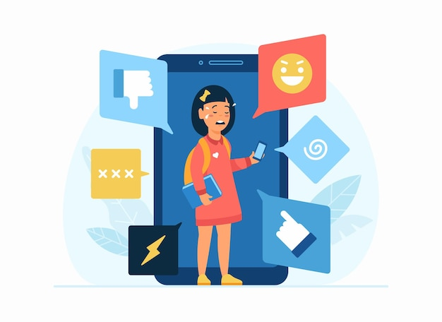 Cyberpesten in sociaal netwerk. platte concept illustratie