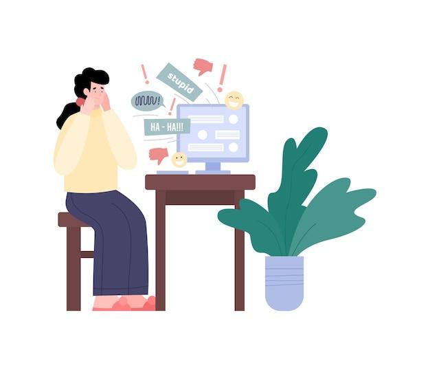 Cyberpesten met meisje dat negatieve berichten krijgt, platte vectorillustratie