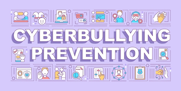 Cyberpesten preventie woord concepten banner