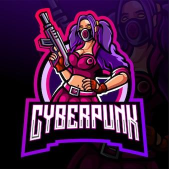 Cyberpunk esport logo mascotte ontwerp