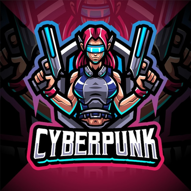 Cyberpunk esport mascotte logo ontwerp