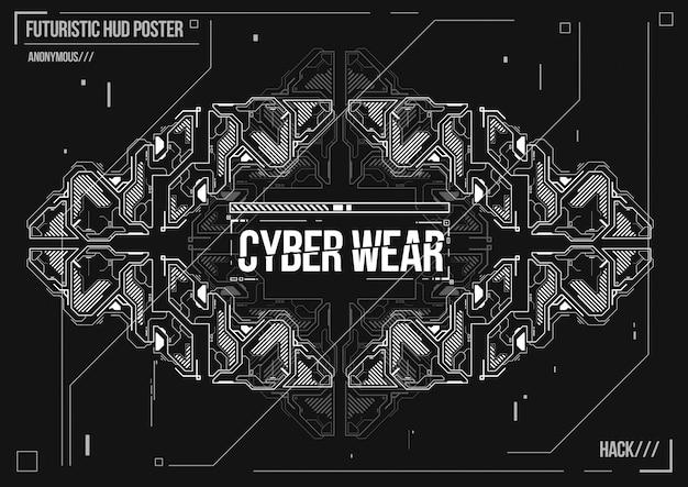 Cyberpunk futuristische poster. retro futuristische poster sjabloon. elektronische muzieklay-out.