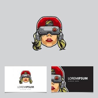 Cyberpunk hipster vrouw mascotte en visitekaartjes