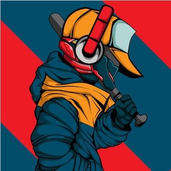 Cyberpunk karakter met stedelijke stijl en honkbalstick