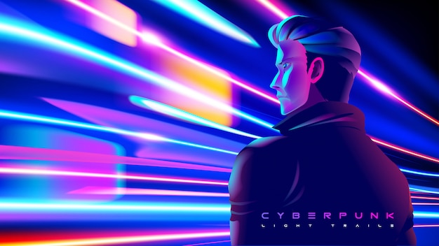 Cyberpunk light trails effect in vector