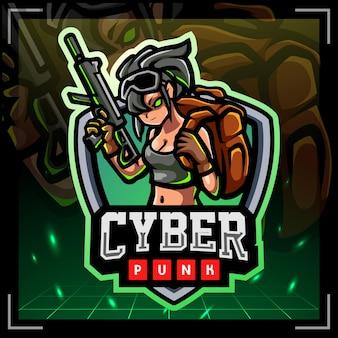 Cyberpunk mascotte esport logo-ontwerp