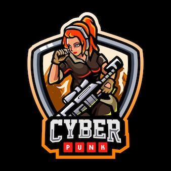 Cyberpunk mascotte esport logo ontwerp