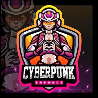 Cyberpunk mecha mascotte esport logo-ontwerp