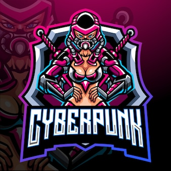 Cyberpunk meisje mascotte esport logo ontwerp