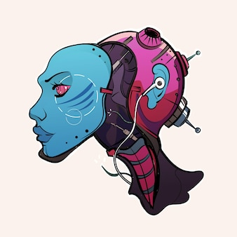 Cyberpunk meisje robot android vectorillustratie
