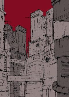 Cyberpunk-stad. fantastische constructies. hoge gebouwen illustratie